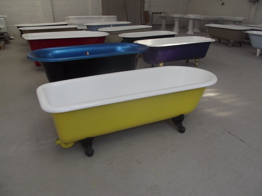 Cast-Iron Roll Top Bath in Yellow - The Bath BusinessThe Bath Business