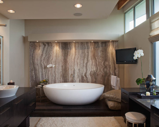 Within Bathrooms With A Neutral Colour Scheme Feature Walls Are Fantastic Ways To Inject Personality And